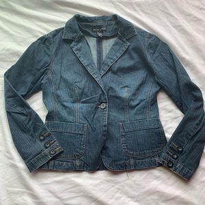 New York &Company Dark Wash One Button Jean Jacket